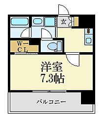 LANDIC 美野島3丁目 6階1Kの間取り