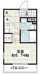 レベアス片瀬江ノ島WEST 2階1Kの間取り
