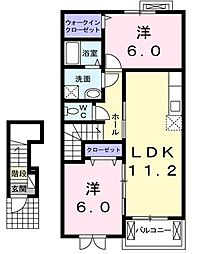 東京都清瀬市野塩1丁目の賃貸アパートの間取り