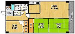 兵庫県宝塚市安倉北3丁目の賃貸マンションの間取り