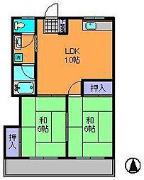 近鉄奈良線 生駒駅 徒歩12分の賃貸マンション 2階2LDKの間取り