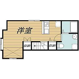 JR成田線 成田駅 徒歩10分の賃貸アパート 2階ワンルームの間取り