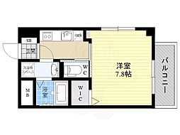 阪神本線 出屋敷駅 徒歩11分の賃貸マンション 3階1Kの間取り