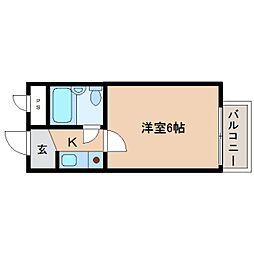 奈良県奈良市三条大路の賃貸マンションの間取り