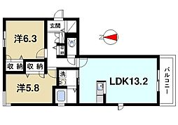 カドデュ ソレイユ 1階2LDKの間取り