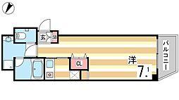 SKE六甲 4階ワンルームの間取り