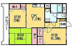 ホウシュウコーポ篠栗5番館[3階]の間取り