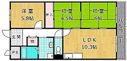 香里ヶ丘II番館[4階]の間取り