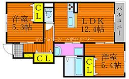 JR吉備線 備前一宮駅 徒歩11分の賃貸アパート 1階2LDKの間取り