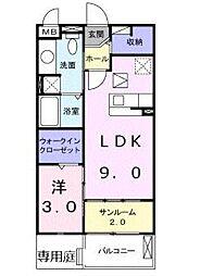 大阪府大阪市東住吉区照ケ丘矢田4丁目の賃貸アパートの間取り