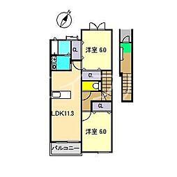 サニースクエアA[2階]の間取り