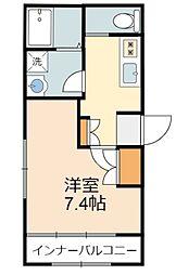 小田急小田原線 向ヶ丘遊園駅 徒歩4分の賃貸マンション 1階1Kの間取り