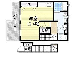 JR阪和線 信太山駅 徒歩20分の賃貸アパート 2階ワンルームの間取り