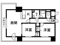 レジディア札幌駅前 8階2LDKの間取り