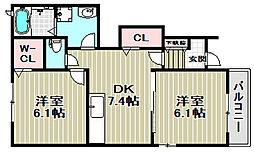 大阪府堺市北区中村町の賃貸アパートの間取り