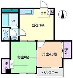 第2コーポリベラ[4階]の間取り