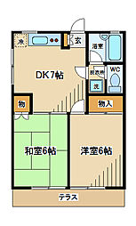 東京都府中市若松町2丁目の賃貸アパートの間取り