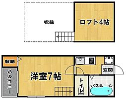 福岡県福岡市中央区伊崎丁目なしの賃貸アパートの間取り