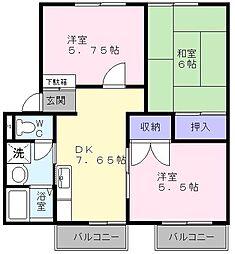 大阪府泉大津市菅原町の賃貸アパートの間取り
