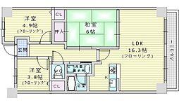 北大阪急行電鉄 緑地公園駅 徒歩7分の賃貸マンション 7階3LDKの間取り