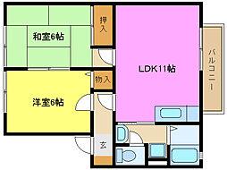 兵庫県姫路市町坪の賃貸アパートの間取り