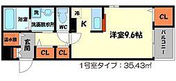 エスポワールAyaIII 3階1Kの間取り