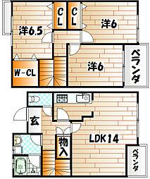 [テラスハウス] 福岡県北九州市八幡西区藤原1丁目 の賃貸【/】の間取り