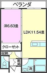 (仮)T様共同住宅(102) 1階1LDKの間取り