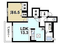 近鉄大阪線 大福駅 徒歩17分の賃貸アパート 1階1LDKの間取り
