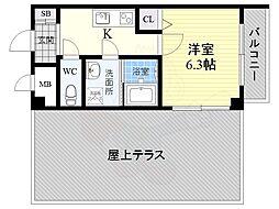 南海高野線 沢ノ町駅 徒歩7分の賃貸マンション 5階1Kの間取り