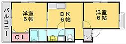 ラフィーネ黒木B[2階]の間取り