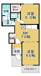 メゾン コンソラトゥール2B 1階2DKの間取り