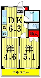 東京都足立区西新井本町2丁目の賃貸マンションの間取り