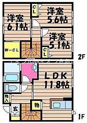 [テラスハウス] 岡山県倉敷市西中新田丁目なし の賃貸【/】の間取り