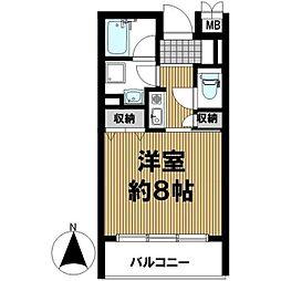 JR大阪環状線 寺田町駅 徒歩7分の賃貸マンション 3階1Kの間取り