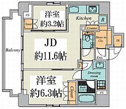 東京メトロ丸ノ内線 御茶ノ水駅 徒歩9分の賃貸マンション 9階2LDKの間取り