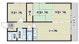 シャトー三島野[302号室]の間取り