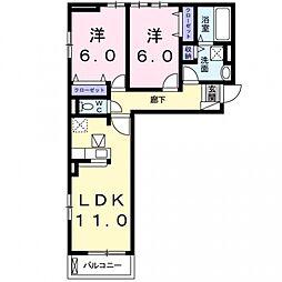 大阪府大阪市平野区長吉六反4丁目の賃貸アパートの間取り