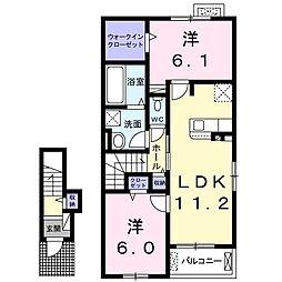 ヴィオラ広丘II 2階2LDKの間取り