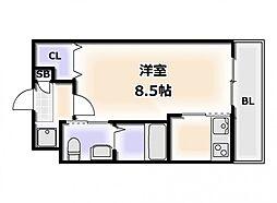 Osaka Metro堺筋線 恵美須町駅 徒歩5分の賃貸マンション 9階1Kの間取り