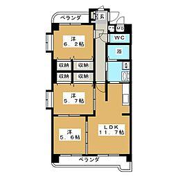 ブルースカイマンションIII[4階]の間取り