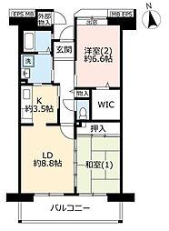 URコンフォール東鳩ヶ谷 4階2LDKの間取り
