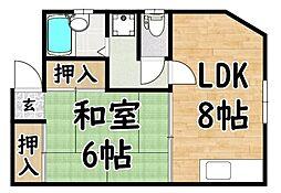 JR関西本線 平野駅 徒歩10分の賃貸マンション 2階1LDKの間取り