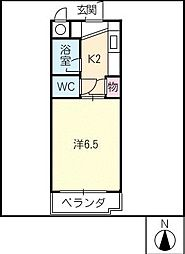 ジュネス瓢箪山[4階]の間取り