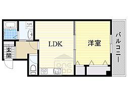 アドバンス松田3番館 1階1LDKの間取り