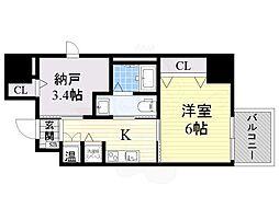 南海線 七道駅 徒歩16分の賃貸マンション 7階1SKの間取り