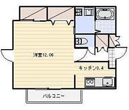 ザ クレスト元浜 7階1Kの間取り