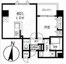 都営大江戸線 両国駅 徒歩10分の賃貸マンション 8階1LDKの間取り