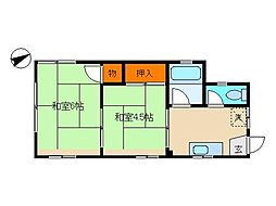 東京都大田区中央6丁目の賃貸アパートの間取り