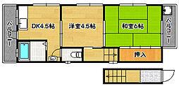兵庫県神戸市兵庫区上沢通5丁目の賃貸アパートの間取り